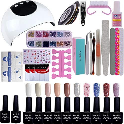 Kit de iniciación de manicura de gel, 10 colores, 36 W, lámpara UV LED, secado, capa base, herramienta de manicura