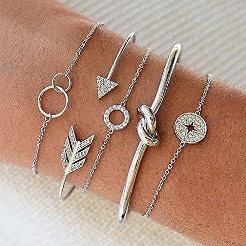 Branets Armband Set mit Kristall, Silber Kreis Armband, mit Pfeil, Stern Handkette verstellbar für Damen und Mädchen (5 Stück)