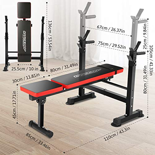 Folding Adjustable Weight Bench with Barbell Rack, Multi-Function Strength Training Adjustable Benches for Fitness Exercise and Strength Workout