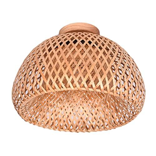 Baoblaze Decoración Arte Bambú Montaje Empotrado Luz de Techo Accesorios de iluminación de Techo Lámpara de Techo de Granja Hecha a Mano Sala de Estar Pasillo - Los 38x20cm
