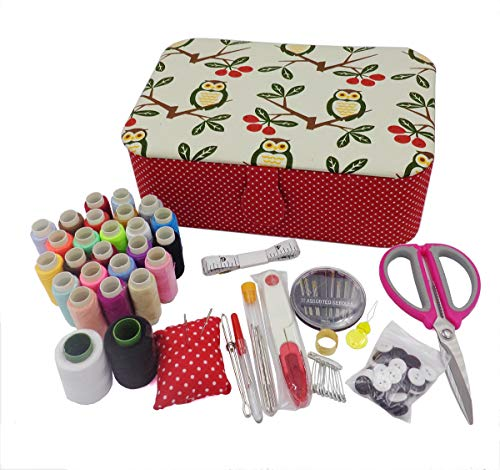 ISOTO Fabric Sewing Basket with Sewing Kit Accessories Storage and Organizer Complete Sewing Kit Tools 9x6.3x3 in (Owl)