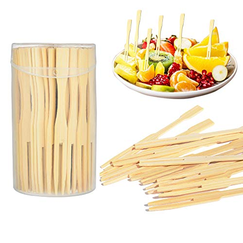 Bamboo Forks 3.5 inch Mini Food Picks with Two Prongs Blunt End Cocktail Forks for Party, Banquet, Buffet, Appetizer, Cocktail, Fruit, Pastry, Dessert - 110 PCS