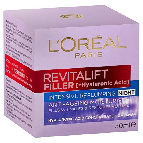 L'Oreal Paris Revitalift Filler Replumping Night Cream with Hyaluronic Acid, Dermatologically Tested, 50ml