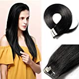 18 Inch Remy Human Hair Tape in Extensions 100g 40pcs #1 Jet Black Hair Seamless Skin Weft Glue in Hairpieces with Invisible Double Sided Tapes