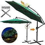 MASTERTOP Sonnenschirm 270 cm Grün Terrassenschirm mit 24 LED Licht, Wasserdicht Gartenschirm mit Kurbelvorrichtung und Kreuzfuß, UV-Schutz Ampelschirm Marktschirm für Garten, Deck und Pool