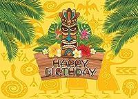 HD 7x5ftアロハルアウの背景誕生日パーティーの写真の背景熱帯のハワイの花ヤシの木の彫刻写真の背景ベビーシャワーバナー装飾ケーキテーブルの背景11549