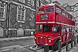 Super Power® 1000 Piezas Londres Rojo Vintage Bus de Doble Capa Rompecabezas de Madera Juegos Relaja tu Mente Cajas de Puzzles Juguetes Marco de la Foto Regalos