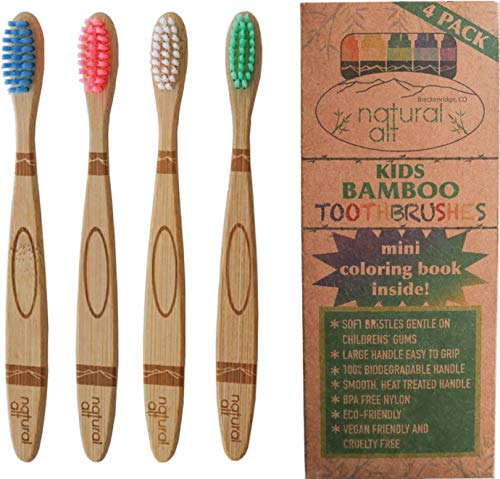 Natural Alt Kids Bamboo Toothbrush Crayon | Eco Friendly Children Size Soft Non BPA Bristles | Educational Bonus (4 Pack)