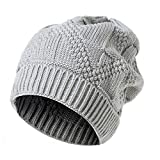 PASATO Men Women Keep Warm Knit Baggy Beanie Oversize Winter Hat Ski Simple and versatile Slouchy Chic Cap (Gray,Free Size)