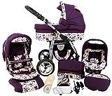 Kinderwagen 3in1 2in1 Set Isofix Buggy Babywanne Autositz D-Deluxe by SaintBaby Lila Eule 3in1 mit...