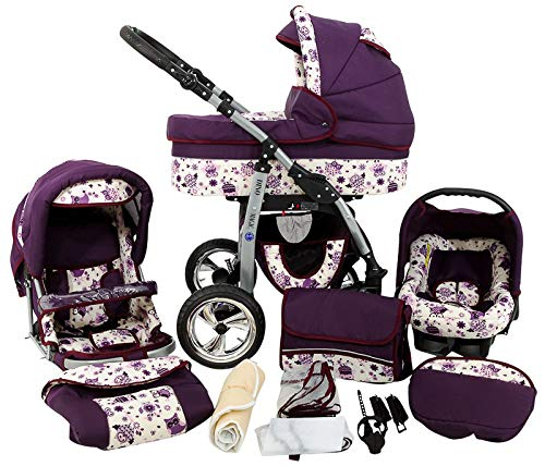 Kinderwagen 3in1 2in1 Set Isofix Buggy Babywanne Autositz D-Deluxe by SaintBaby Lila Eule 3in1 mit Babyschale
