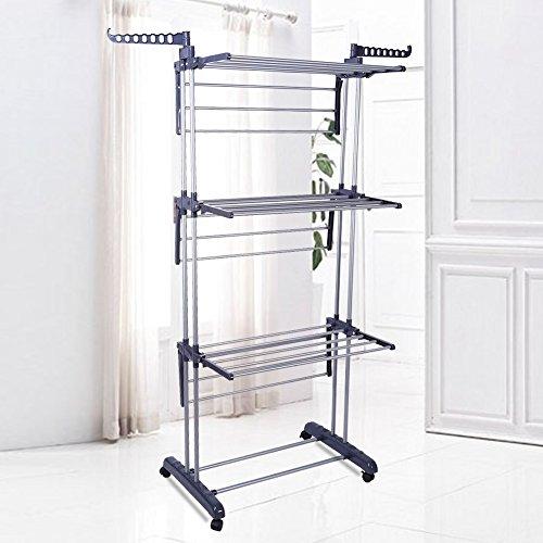 Tendedero de suelo puerta ropa perchero Stand Soporte, Tendedero abatible Mobile Rack, extensible ajustables de acero con 4niveles, 170* 76* 64cm