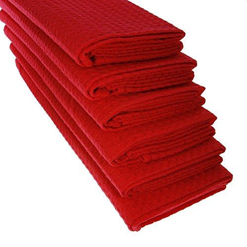 6 x Design gariella® Torchon chiffon en 100% coton gaufré piqué dans rouge/Cuisine/chiffon