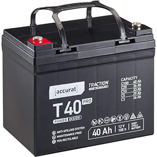 Accurat 12V 40Ah AGM Blei-Akku zyklenfeste Versorgungsbatterie Traction T40 Pro wartungsfrei