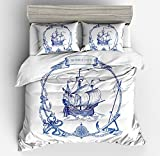 Sailboat Bedding Set Nautical Decor Duvet Cover Full Size Blue Retro Sailboat Bedding Soft Duvet Cover Compass Anchor Pattern Decor Comforter Cover Soft Breathable Quilt Cover for Adult Teens Kids