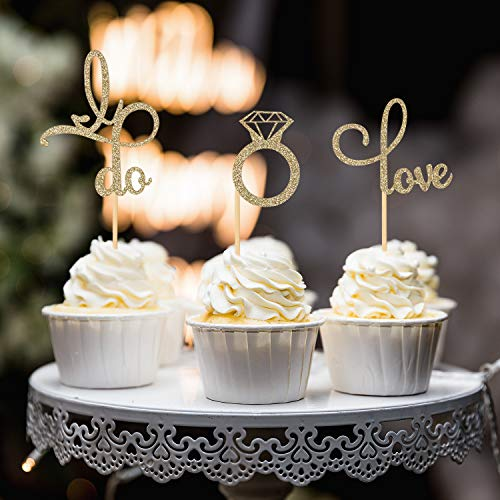 Donoter 48 Pcs Gold Glitter Diamond Ring Love I Do Cupcake Topper Picks for Wedding Engagement Party Cake Decorations