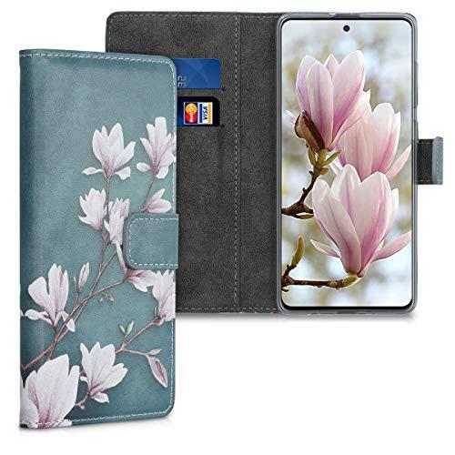 kwmobile Hülle kompatibel mit Samsung Galaxy A51 - Kunstleder Wallet Hülle mit Kartenfächern Stand Magnolien Taupe Weiß Blaugrau