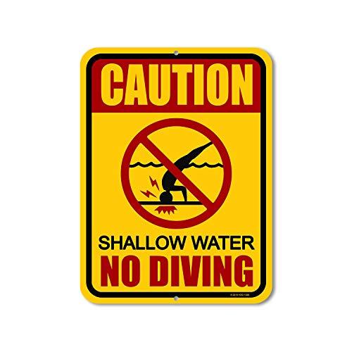 """Honey Dew Gifts Pool-Schilder, Aufschrift """"Caution Shallow Water No Diving"""", 22,9 x 30,5 cm, hergestellt in den USA"""