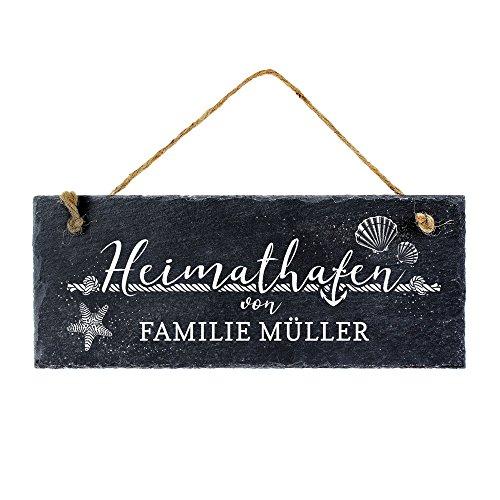 Casa Vivente Schiefertafel mit Gravur - Namensschild für Familien - Heimathafen - Personalisiert mit Namen - Türschild zum Aufhängen - Geschenkidee zum Einzug - Hochzeitsgeschenke für Brautpaare