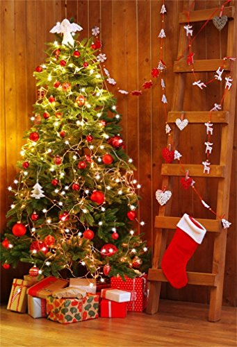 YongFoto 3x5ft Fotografie Achtergrond Kerstboom Stocking Rendier Gifts Houten Ladder Harten Strepen Houten Vloer Interieur Photo Achtergronden Fotografie Video Party Kids Photo Studio Props