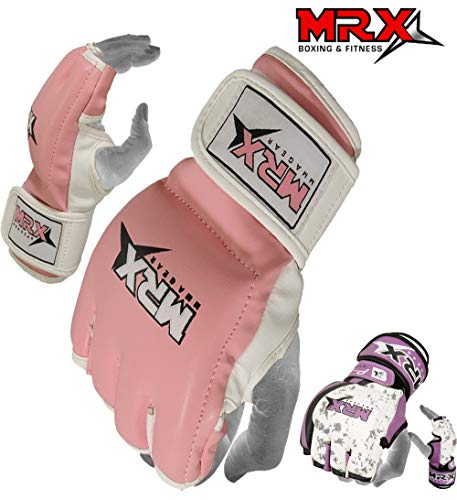 MRX BOXING & FITNESS MMA Women Grappling Gloves Cage Fighting Ladies Training UFC Sparring Gloves Pink (Medium)