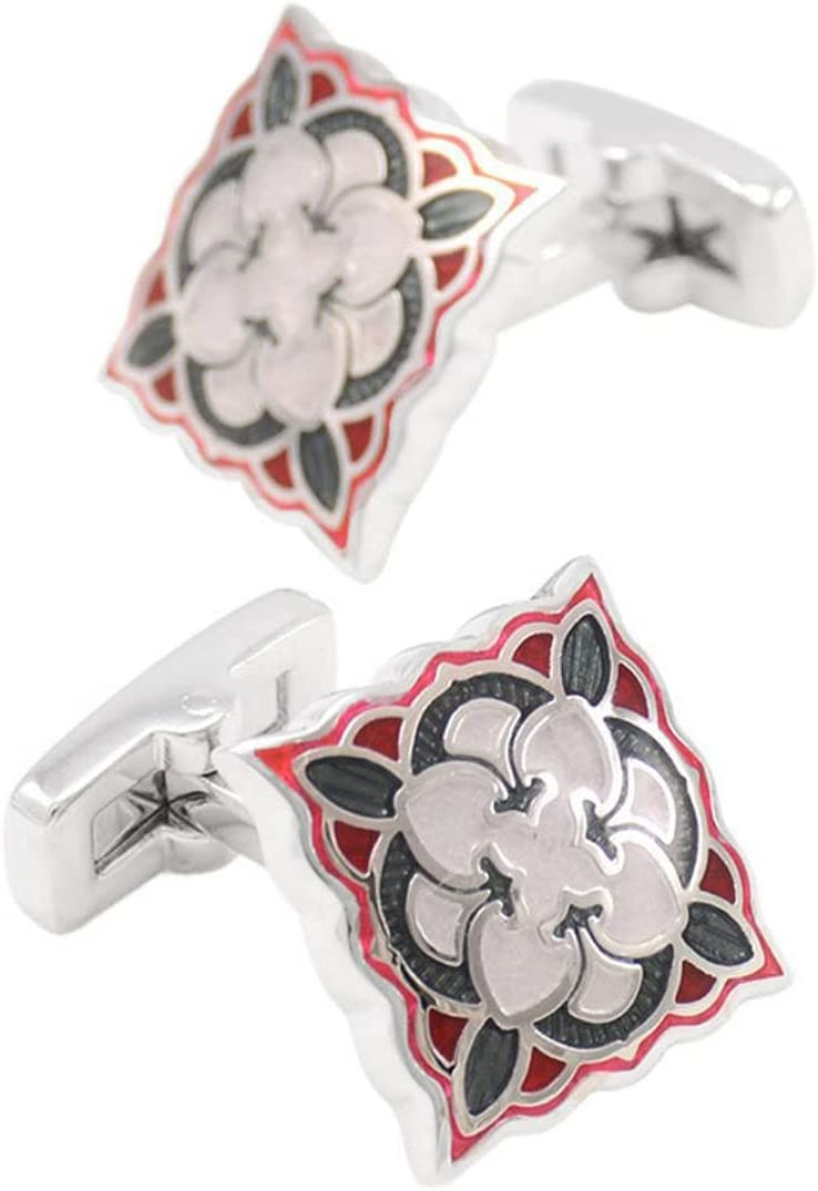 BO LAI DE Men's Cufflinks Red and Black Square Enamel Cuff Links Suitable for Business Events, Meetings, Dances, Weddings, Tuxedos, Formal Shirts, with Gift Boxes
