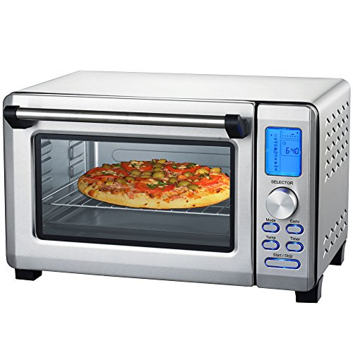 Syntrox Germany 23 liter digitale roestvrijstalen mini-staande oven met convectie en draaispies mini-oven, minibakoven, pizzaoven
