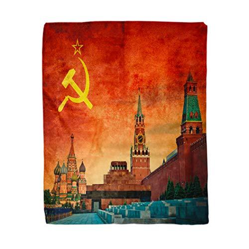 rouihot 152.4 x 203.3 cm Flanell-Überwurf, gelb, russisch, sowjetisch, kommunistisch, Russland, Revolution, Flagge, Kremlin, Kommunismus, Zuhause, dekorativ, warm, gemütlich, Sofa, Bett