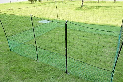 12m Geflügelzaun mit Zugangstor, 125cm, 6 Pfähle, 2 Spitzen, grün-schwarz, mobiler Hühnerzaun, Geflügelnetz, Hühnernetz, ohne Strom