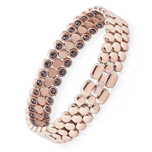Jeroot Magnetarmband,Damen Gesundheit Magnetarmband Magnetische Armbänder für Arthritis Verschluss Armband Magnet Gesundheit Magnetarmband Hämatit Magnetarmband Energetix (Rose Gold)