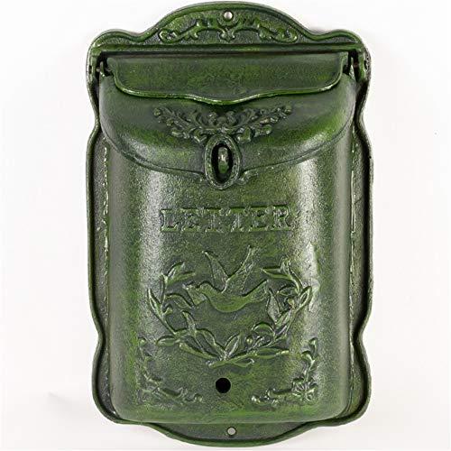 Mailbox 25 X 11 X 39cm Europese stijl muur bevestigde Letter Box Cast Iron Indoor Mailbox Brievenbus (Color : Green, Size : 25x11x39cm)