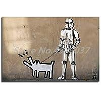 キャンバスペインティング 犬の落書きの壁紙HDキャンバス絵画プリントリビングルームの家の装飾現代の壁アート油絵ポスター 60x90cm
