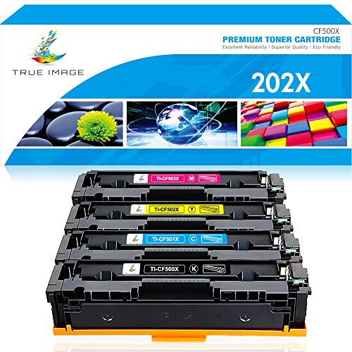 True Image Compatible Toner Cartridge Replacement for HP 202A 202X CF500X HP Color Laserjet Pro MFP M281fdw M281cdw M254dw M254nw M281fdn M254 M281 Printer Ink (Black Cyan Yellow Magenta, 4-Pack)