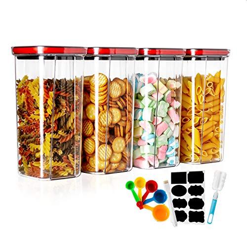 MaxMiuly Juego de 4 tarros de almacenamiento para cereales, sin BPA, de...