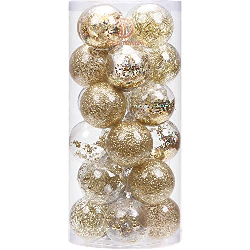 Sea Team 70mm/2.76' Shatterproof Clear Plastic Christmas Ball Ornaments Decorative Xmas Balls Baubles Set with Stuffed Delicate Decorations (24 Counts, Gold)