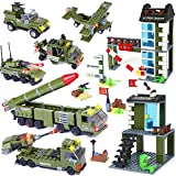 1162 Pieces City Police Station Building Kit, City Sets, Police Car Toy, Army Military Base Building Toy with Tank Vehicles, Missile Truck, Storage Box with Baseplate Lid, Gift for Boys Girls 6-12