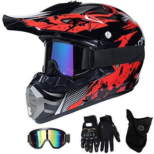 VOMI Motorradhelm Motocross Helm Kinder Rot Schwarz, MT-51 Full Face Off-Road Motorrad Cross Helme mit Visier Brille Maske Handschuhe, Motorbike ATV MTB Freien Sport Motorcycle Helmet Set,M(54~55CM)