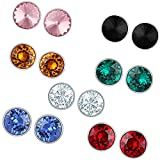 Mahi Multicolour Brass Rhodium Plated Stud Earrings with Swarovski Crystals for Girls and Women -Combo of 7