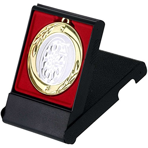 pokalspezialist Dart Medaille im Set mit Etui zum Aufstellen je 1 Stück Gold Silber Bronze 70mm Metall