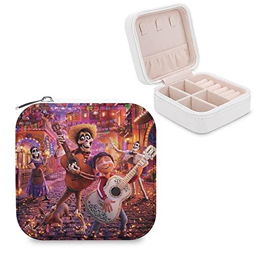 Coco - Joyero de piel sintética para viajes, portátil, para collares, pendientes, pulseras, anillos, relojes, expositores, cajas de joyería para mujeres