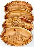 4 recipientes ovalados LIDO - hechos de madera de olivo. Aproximadamente 16 x 10 cm. El producto se caracteriza por el maravilloso veteado de la madera. Cada recipiente es un ejemplar único.