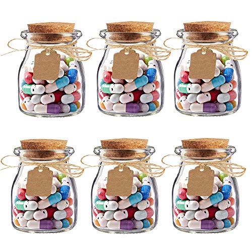 Awtlife - 300 cartas de cápsula con mensaje en 6 botellas de vidrio con tapas de corcho para bodas, fiestas, familiares, cara sonriente, amor, amistad, carta de amor (3.4 oz)