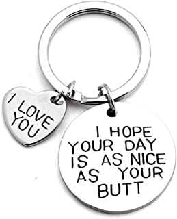 I Hope Your Day is As Nice As Your Butt Keychain Valentine's Day Gift for Boyfriend Husband Funny I Love You Couple Keyring for Girlfriend Wife
