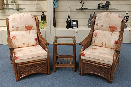 Thatched Cottage Cane Conservatory Furniture Duo Set - 2 Chairs and a Table- Natural Poppies Fabric-Walnut Colour Cane