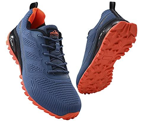 COOJOY Herrsko löparskor som andas vandring vandring träningsskor hålfotsstöd promenadskor, - BLÅ - 40 EU