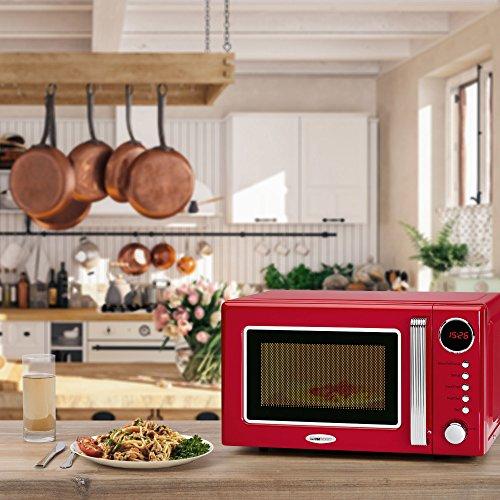 Clatronic MWG 790 - Microondas con grill 20 litros, 700/1000 W, display digital, 9 programas automáticos, timer, serie Rock&Retro estilo vintage, color rojo