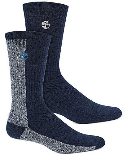 Timberland 2-Pack Marled Colorblock Wool Cushioned Boot Socks (Peacoat)