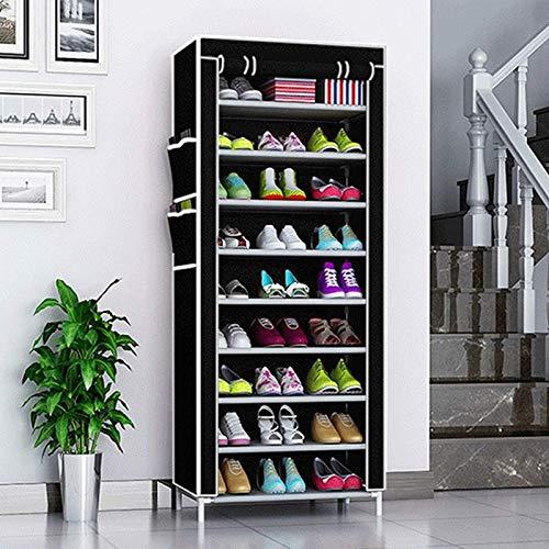Trintion Schuhregal Schuhständer Schuhschrank Schuhaufbewahrung Schuh-Organizer mit 10 Ebenen mit staubdichtem Überzug (58 x 28 x 160 cm Schwarz)