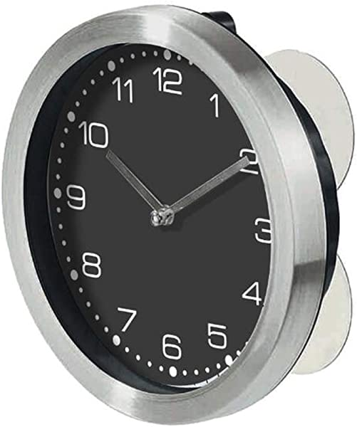 Justup Shower Clock With Suction Cups Waterproof Bathroom Wall Mounted Clocks Super Quiet For Bathroom Kitchen Black