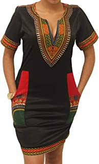 Women's Dashiki African Bodycon Dresses Bohemian Vintage Print Club Midi V-Neck Pockets
